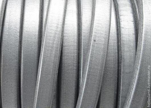 Для украшений ручной работы. Ярмарка Мастеров - ручная работа. Купить Кожаный шнур REGALIZ серебристый. Handmade. Регализ