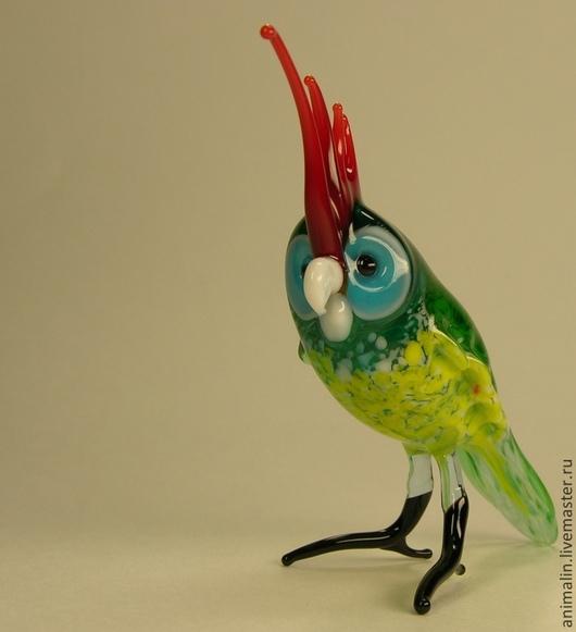 Персональные подарки ручной работы. Ярмарка Мастеров - ручная работа. Купить Фигурка из цветного стекла Птица Попугай Какаду. Handmade.