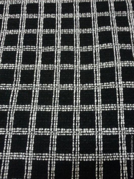 Ткань костюмная смесовая № 7. Германия. Изумительное мягкое чёрное в белую клетку букле. Ширина 150 см  Роскошество из Германии.