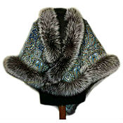Аксессуары handmade. Livemaster - original item Shawl with fur