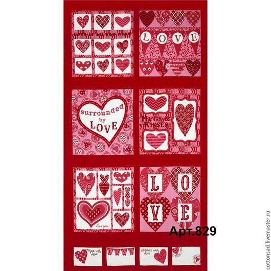 """Шитье ручной работы. Ярмарка Мастеров - ручная работа. Купить Панель для пэчворка. (3вида) """"LOVE -1"""". Американский хлопок.. Handmade."""