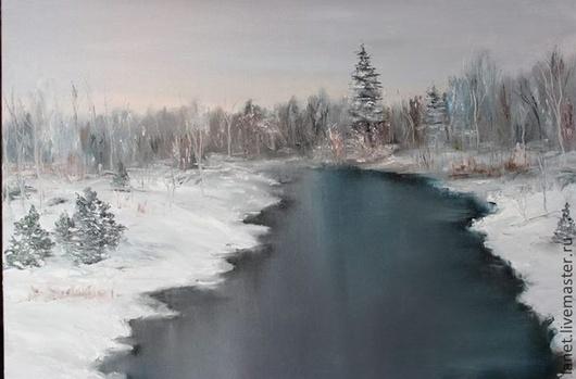 """Пейзаж ручной работы. Ярмарка Мастеров - ручная работа. Купить Постер  """"Оттепель"""". Handmade. Голубой, река, оттепель, проталина, туман"""