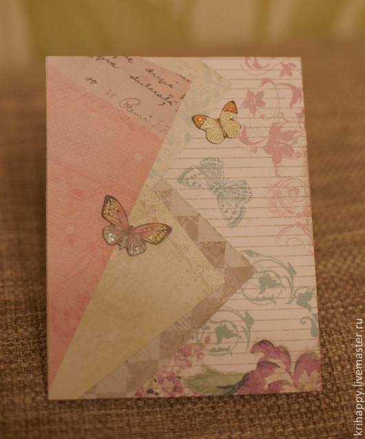 """Открытки для женщин, ручной работы. Ярмарка Мастеров - ручная работа. Купить Открытка для женщины """"Нежные бабочки"""". Handmade. Белый, открытка"""