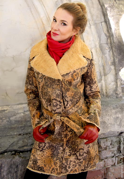 Suede coat with lace pattern, Designer coat faux fur, Knee length coat, Coats, Novosibirsk,  Фото №1