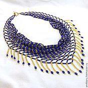 Украшения handmade. Livemaster - original item Necklace scarf beaded blue