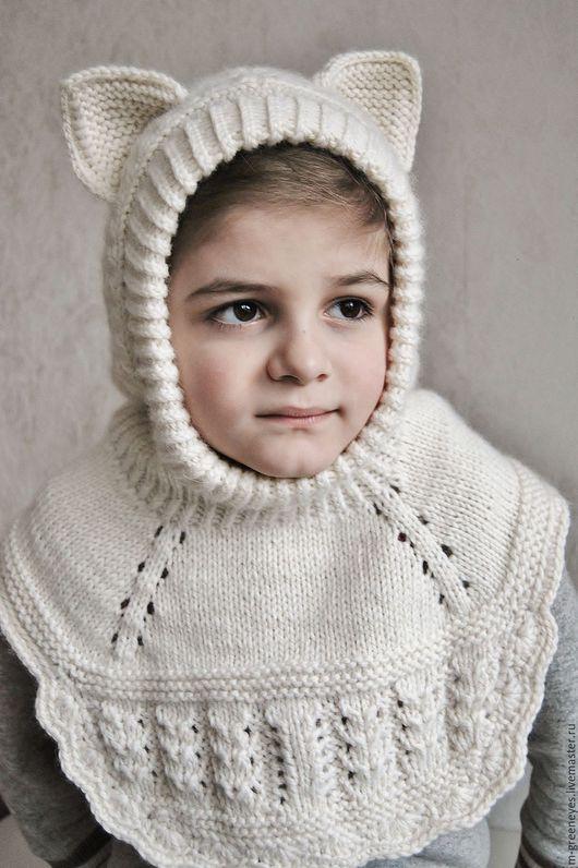 """Шапки и шарфы ручной работы. Ярмарка Мастеров - ручная работа. Купить Шапка с большой пелериной """"Белый котик"""". Handmade. Шапка кот"""