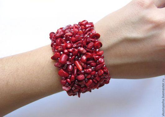 """Браслеты ручной работы. Ярмарка Мастеров - ручная работа. Купить Браслет из коралла """"Красный коралл"""". Handmade. Коралловый, браслет из коралла"""