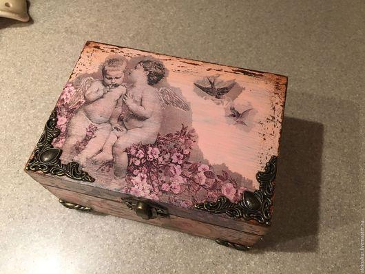 """Шкатулки ручной работы. Ярмарка Мастеров - ручная работа. Купить Шкатулка """"Ангелочки"""". Handmade. Кремовый, шкатулка для украшений, шкатулка деревянная"""