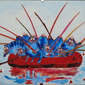 Картины и панно handmade. Livemaster - original item Stained glass painting Summer fishing. Blue cats by Rina, Sanuk.. Handmade.