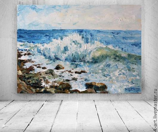 Пейзаж ручной работы. Ярмарка Мастеров - ручная работа. Купить Прибой. Handmade. Море, голубой, картина в гостиную