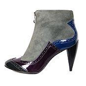 Обувь ручной работы handmade. Livemaster - original item Ankle boots velour with multi-colored panels of patent leather. Handmade.