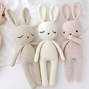 Куклы и игрушки handmade. Livemaster - original item Knitted Bunny. A toy for the youngest and the first photo shoot. Handmade.