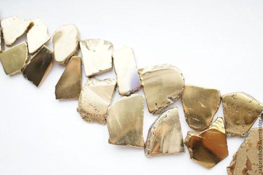 Для украшений ручной работы. Ярмарка Мастеров - ручная работа. Купить Гематит цвет золото кусочек 28х24мм. Handmade. Гематит
