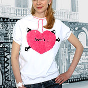 Одежда handmade. Livemaster - original item White women`s t-shirt Love is, loose t-shirt with a hood, seals. Handmade.