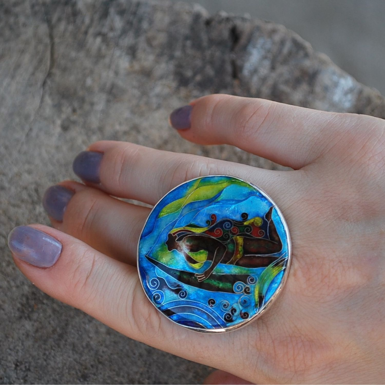 Кольцо ручной работы из серебра 925 и горячей эмали «Океан», Кольца, Москва, Фото №1