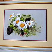 """Картины и панно ручной работы. Ярмарка Мастеров - ручная работа Картина """"Ромашки с ежевикой"""". Handmade."""