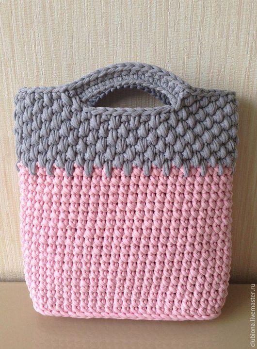 Женские сумки ручной работы. Ярмарка Мастеров - ручная работа. Купить Вязанная сумка. Handmade. Розовый, серый