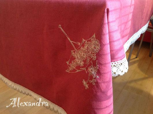 """Текстиль, ковры ручной работы. Ярмарка Мастеров - ручная работа. Купить Скатерть """"Весна  в Японии"""". Handmade. Розовый, Красивый дом"""