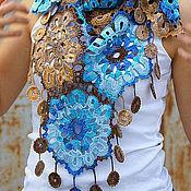 Аксессуары handmade. Livemaster - original item Easy shawl scarf tassel scarf for summer autumn Blue with Sand. Handmade.