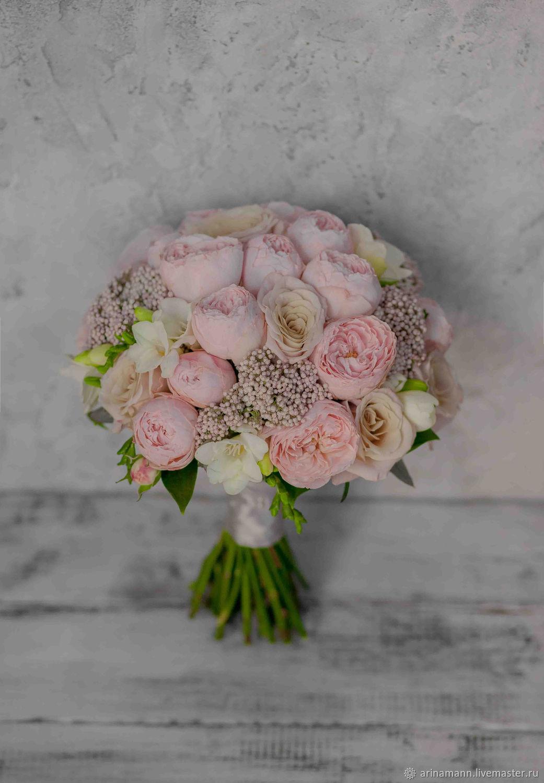 Розовый букет невесты из пионовидных роз, Свадебные букеты, Москва,  Фото №1
