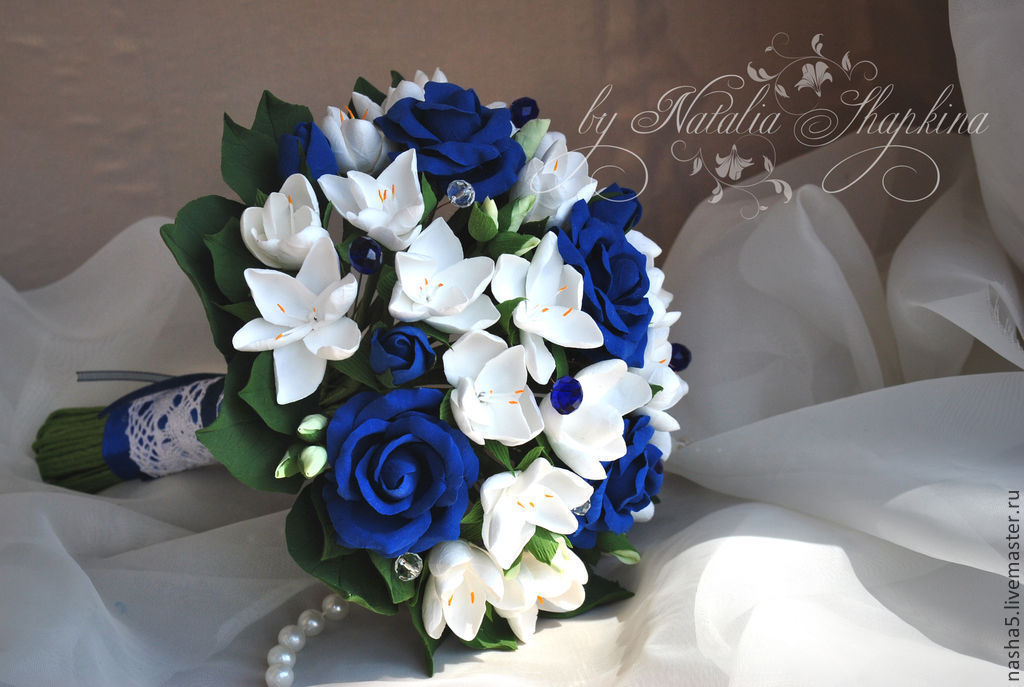 Wedding Flowers handmade. Livemaster - handmade. Buy Wedding bouquet of blue  roses and freesia ... df86200709a