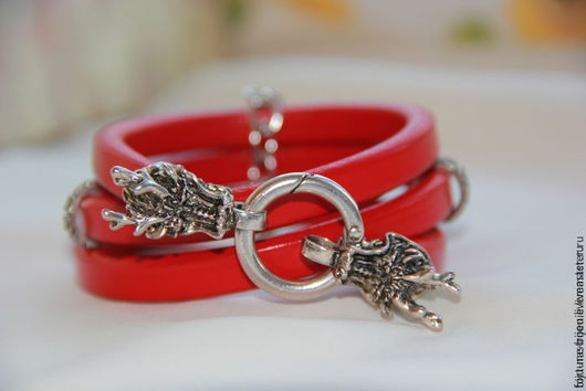 Браслеты ручной работы. Ярмарка Мастеров - ручная работа. Купить Красный дракон. Handmade. Ярко-красный, regaliz испания
