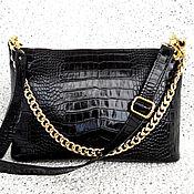 Классическая сумка ручной работы. Ярмарка Мастеров - ручная работа СИЯНИЕ кожаная сумочка, черный, золотой, большая сумочка, внутри замша. Handmade.