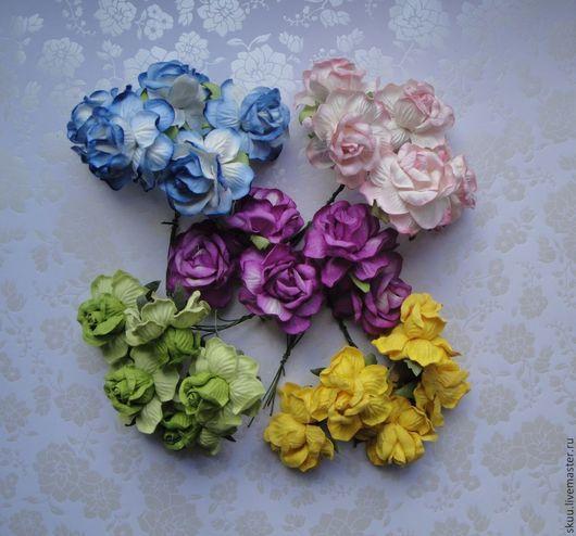 Открытки и скрапбукинг ручной работы. Ярмарка Мастеров - ручная работа. Купить Розы 5 см 4 расцветки. Handmade. Розовый
