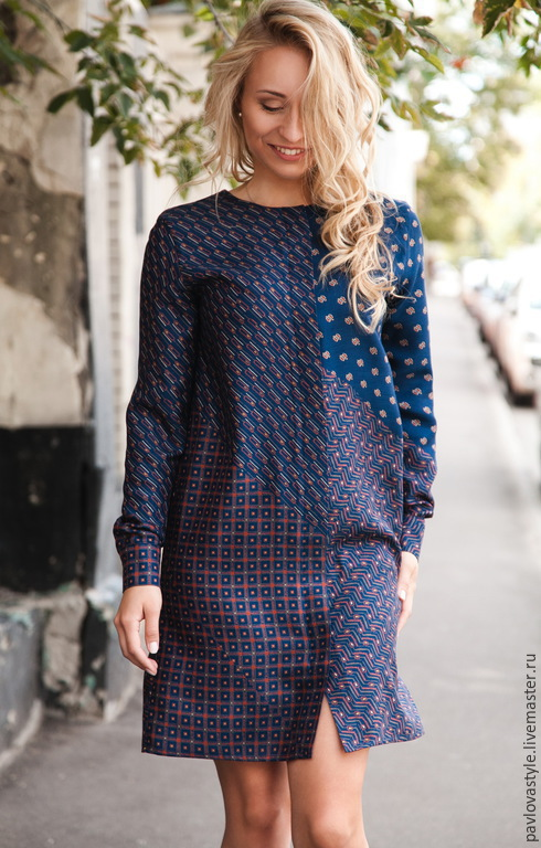 Платья ручной работы. Ярмарка Мастеров - ручная работа. Купить Платье-рубашка. Handmade. Тёмно-синий, платье-туника