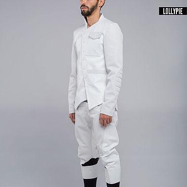 Одежда ручной работы. Ярмарка Мастеров - ручная работа Белые кожаные бриджи с карманом на резинке. Handmade.
