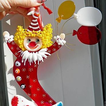 """Подарки к праздникам ручной работы. Ярмарка Мастеров - ручная работа Елочные игрушки.""""Цирк уехал...клоуны остались!""""Стекло.Фьюзинг.. Handmade."""
