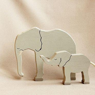 Деревянная игрушка - Слоны