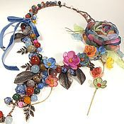 Украшения handmade. Livemaster - original item Waltz Of Spring Rains. Long necklace, brooch flower, fabric flowers.. Handmade.