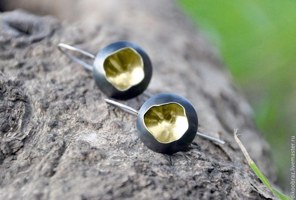 Earrings silver 'Solar Eclipse', Earrings, Moscow,  Фото №1
