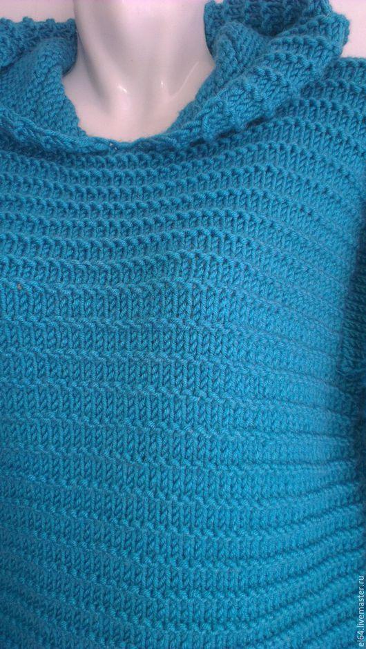 Кофты и свитера ручной работы. Ярмарка Мастеров - ручная работа. Купить Пуловер с капюшоном. Handmade. Тёмно-бирюзовый, крупная вязка