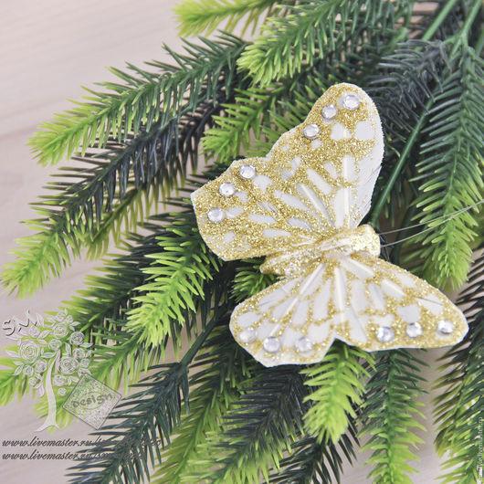 Материалы для флористики ручной работы. Ярмарка Мастеров - ручная работа. Купить Золотая бабочка большая 3200. Handmade. Декор