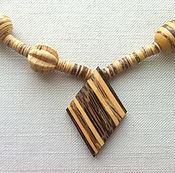 "Украшения handmade. Livemaster - original item Wooden and coconut necklace ""Rhombus"". Handmade."