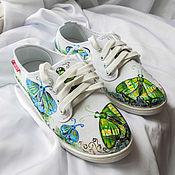 """Обувь ручной работы. Ярмарка Мастеров - ручная работа Кеды """" Бабочки"""", кеды с рисунком, роспись кед.. Handmade."""