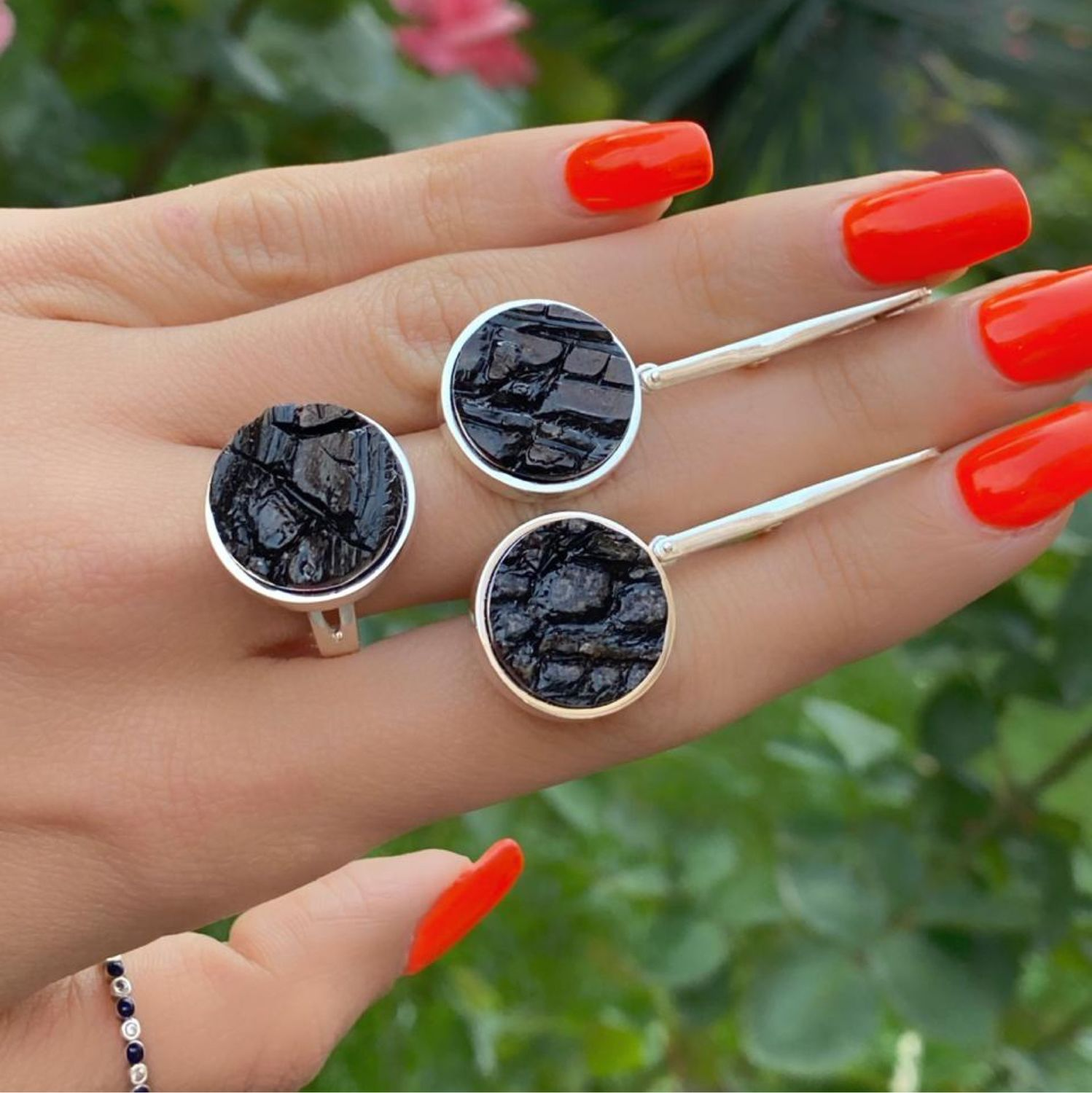 Etna.  Earrings and Ring with volcanic lava in silver, Jewelry Sets, Moscow,  Фото №1