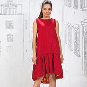 Одежда ручной работы. Ярмарка Мастеров - ручная работа Платье льняное на цветочной подкладке. Handmade.