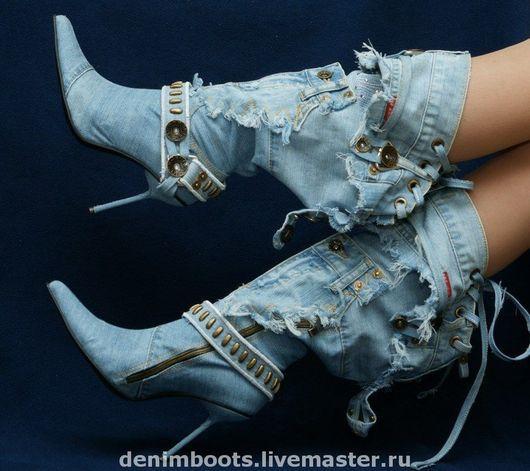 """Обувь ручной работы. Ярмарка Мастеров - ручная работа. Купить Сапоги джинсовые """"Соблазн"""" на шпильке 9см.. Handmade. Джинса, джинса"""
