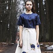 """Одежда ручной работы. Ярмарка Мастеров - ручная работа Валяное платье с вышивкой  """"Ах эти розы"""". Handmade."""