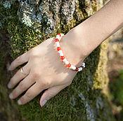 Украшения ручной работы. Ярмарка Мастеров - ручная работа Говлит и красный агат, браслет. Handmade.