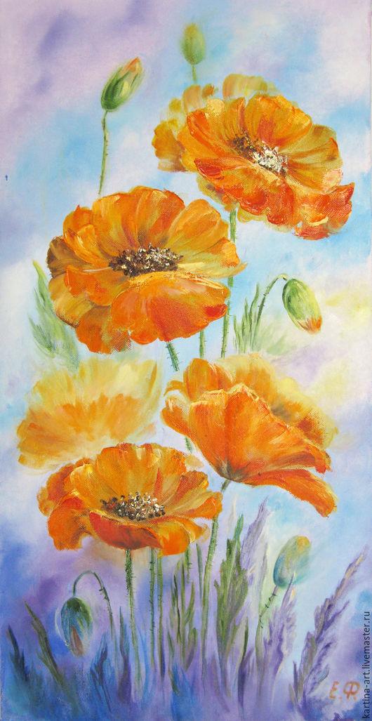 Картины цветов ручной работы. Ярмарка Мастеров - ручная работа. Купить Картина на холсте маслом Оранжевые маки. Handmade. Комбинированный