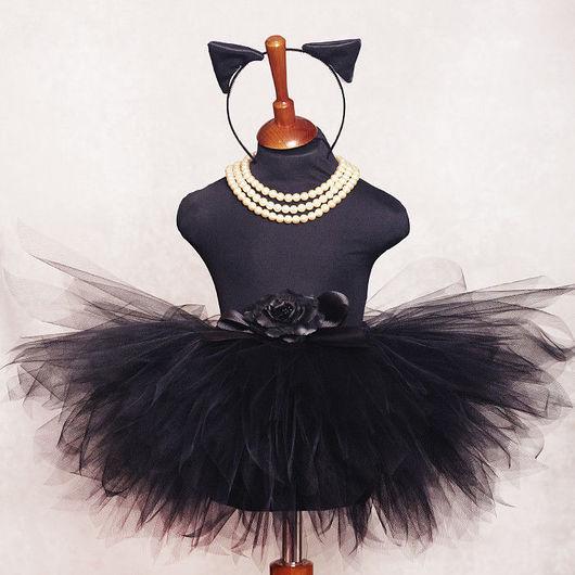"""Карнавальные костюмы ручной работы. Ярмарка Мастеров - ручная работа. Купить """"Черная кошка"""" юбка-пачка из фатина и ушки. Handmade."""