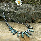 #30 Ожерелье из черного жемчуга и гелиотиса