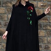 Одежда ручной работы. Ярмарка Мастеров - ручная работа Кейп с вышитой розой из буклированной шерсти. Handmade.