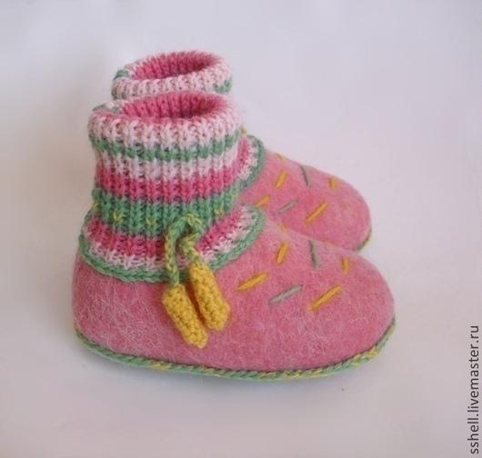 Для новорожденных, ручной работы. Ярмарка Мастеров - ручная работа. Купить Пинетки-тапочки. Handmade. Пинетки, 100% шерсть
