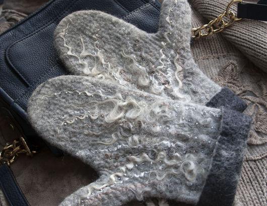 Варежки, митенки, перчатки ручной работы. Ярмарка Мастеров - ручная работа. Купить Просто теплые варежки)). Handmade. Серый