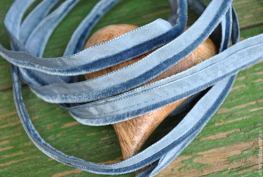 Шитье ручной работы. Ярмарка Мастеров - ручная работа. Купить Двойной кант с бархатной полосой Серо-голубая дымка (Франция). Handmade.